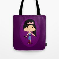 amy poehler Tote Bags featuring Amy by Sombras Blancas Art & Design