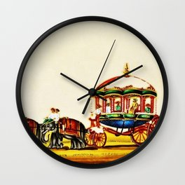Classical Masterpiece 1820 'Maharaja Elephant-drawn Carriage, Bombay, Indian - Artist Unknown Wall Clock