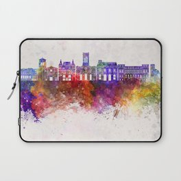 Saint Etienne skyline in watercolor background Laptop Sleeve