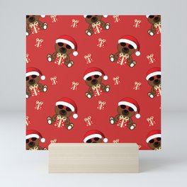 Cool Santa Bear with sunglasses and Christmas gifts pattern Mini Art Print