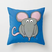mouse Throw Pillows featuring Mouse by Rafael Martinez