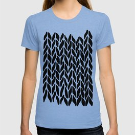 Hand Knitted Black on White T-shirt