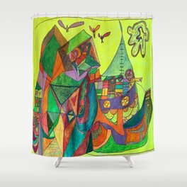 A Community House Boat on the Sea Shower Curtain