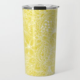 Modern trendy white floral lace hand drawn pattern on meadowlark yellow Travel Mug