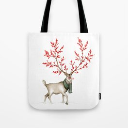 Rudolph the Winterberry Antler'd Reindeer Tote Bag