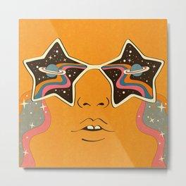 Cosmic Retro 60s 70s Starry Eyes Metal Print