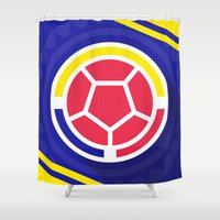 colombia Shower Curtains featuring Seleccion Colombia by DAN LOZ