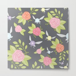 Garden of Fairies Pattern in Grey Metal Print