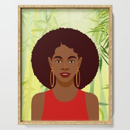 Set of young attractive african american women, Landscape of bamboo stems and leaves background. 3/3 Serving Tray