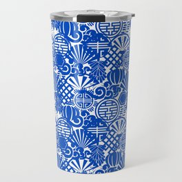 Chinese Symbols in Blue Porcelain Travel Mug
