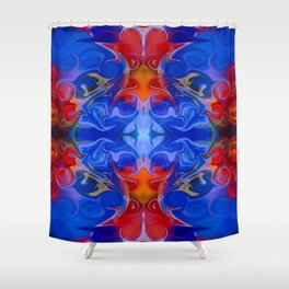 Blue Beginnings Abstract Pattern Artwork  Shower Curtain