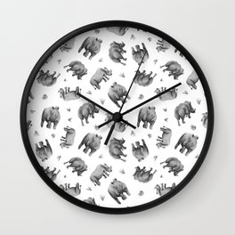 Rhino's Grazing - Black & White Wall Clock