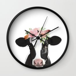 Cow with flower crown Wall Clock