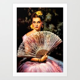 Jesus Helguera Painting of Spanish Beauty with Lacey Fan Art Print