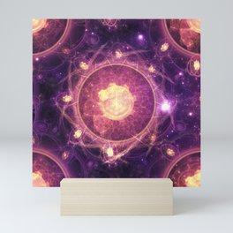 Emblazoned Gold & Royal Purple Mandala of the Stars Mini Art Print