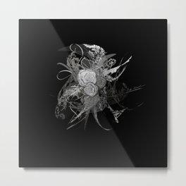 50 shades of lace Grey Silver Black Metal Print
