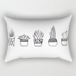 Cacti Line Drawing Rectangular Pillow