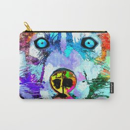 Husky Dog Watercolor Grunge Carry-All Pouch