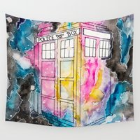 tardis Wall Tapestries featuring Tardis  by MichaelaKatrina
