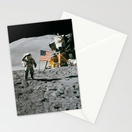 Man on the Moon with American Flag Stationery Cards