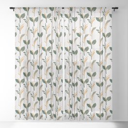Mid Century Modern - Tropical Palm Leaves Pattern Sheer Curtain