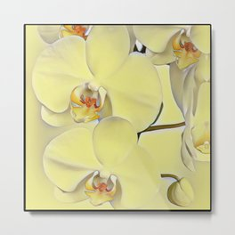 "A series of ""Favorite pillows """"Yellow Orchid"" Metal Print"