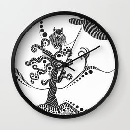 abstract owl on a tree Wall Clock
