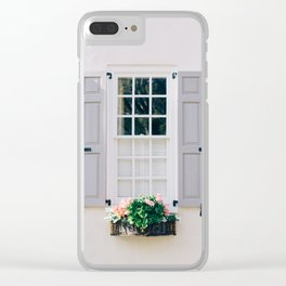 Charleston Grey Shutters and Window Box Clear iPhone Case