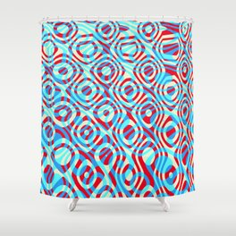 Mixed Polyps Red Blue - Coral Reef Series 035 Shower Curtain