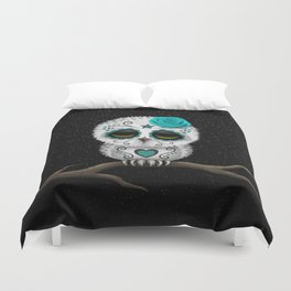 Adorable Teal Blue Day of the Dead Sugar Skull Owl Duvet Cover