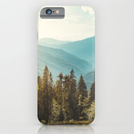 Amazing mountain landscape with colorful vivid sunset on the cloudy sky, natural outdoor travel background. Beauty world. iPhone Case