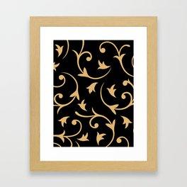 Baroque Design – Gold on Black Framed Art Print