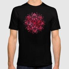 Mandala - Pink Watercolor Black Mens Fitted Tee MEDIUM