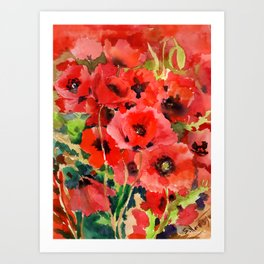 Red Poppies red floral pattersn texture poppy flower design Art Print