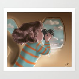 The first time on a plane Art Print