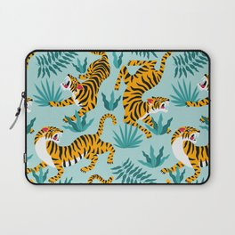 Asian tigers and tropic plants on background. Laptop Sleeve