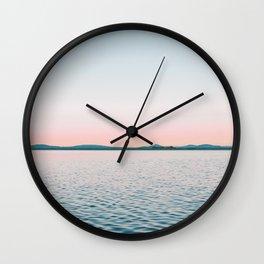 Pink, Blue, Landscape, Water, Nature, Modern art, Scandinavian, Art, Minimal, Wall art Wall Clock