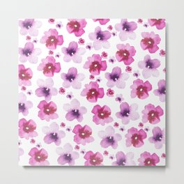 Hand painted blush pink lavender watercolor floral Metal Print
