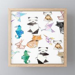 Cute Hand Drawn Geometric Paper Origami Animals Framed Mini Art Print