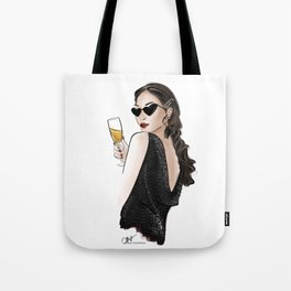 girl cheering with champagne wearing trendy hair pins Tote Bag