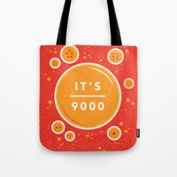 dragonball Tote Bags featuring IT'S OVER 9000 (Dragonball) by Jacob Waites