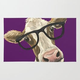 Purple Glasses Cow, Cute Up Close Cow Rug