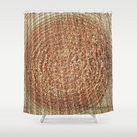 tree rings Shower Curtains featuring Oak Rings by Michael S.