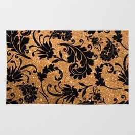 Vintage black faux gold glitter floral damask pattern Rug