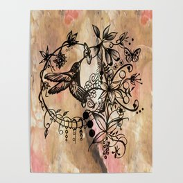 Acrylic Abstract Painting HUMMINGBIRD II Poster