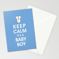 Keep Calm It's A Baby Boy Stationery Cards