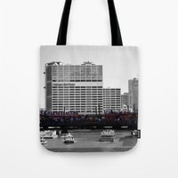 blackhawks Tote Bags featuring Chicago Blackhawks 2013 Championship Parade Route by Michael A. Hubatch