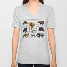 Endangered Animals of Sumatra Unisex V-Neck
