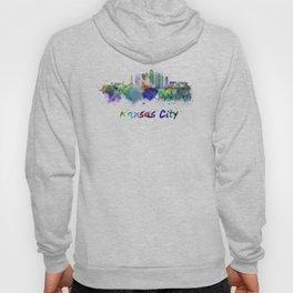 Kansas City V2  skyline in watercolor Hoody