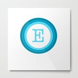 Blue letter E Metal Print